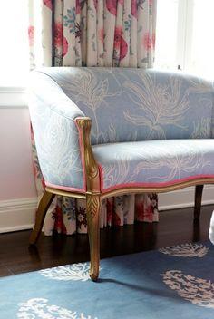 Madeline Weinrib Blue Keri Tibetan Carpet, room design by Carla Lane Interiors
