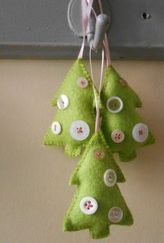 Handmade felt christmas tree shaped decorations by AliceEmilyRose, £3.95