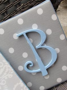 Polka dot, chevron wall letters w pink letter(s). Make this for her room