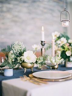 White and #brass #wedding #tablescape by Sarah Winward.  Photo by Leo Patrone.