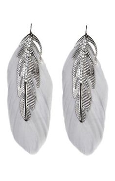 feather and text metal earrings
