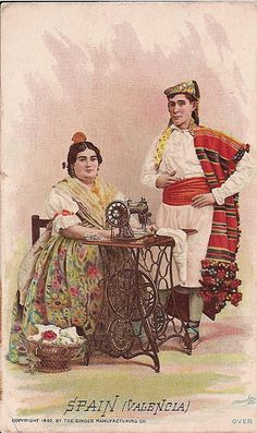 Singer Sewing Machine's World, 1892, Spain Valencia Trade Card