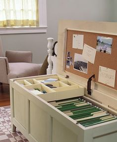 better than an ugly filing cabinet - I'm totally going to do this with an old chest I have!!