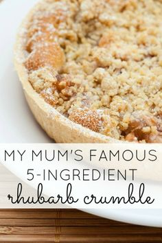 Whether you're hosting your family for Easter dinner, or just need an excuse to be gluttonous, this 5-ingredient rhubarb crumble will knock your socks off!