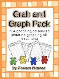 Grab and Graph Pack: A great way to practice sorting and graphing by various attributes. Students can complete graphs whole group, small group, or in a center. Students will sort the manipulatives and then complete the graph. Then students analyze their data and answer questions about their graph. There are 30+ graphs and response pages including blank versions for a years worth of graphing. All pictures are black and white to save you ink and make them easily reproducible.