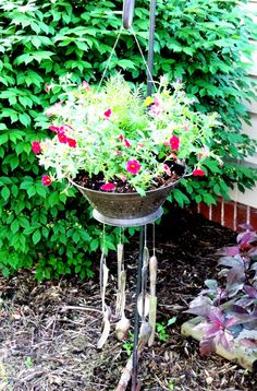 FREE SHIPPING - One-of-a-Kind Colander Wind Chime and Planter on Etsy, $65.00