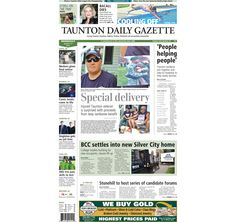 The front page of the Taunton Daily Gazette for Wednesday, Aug. 13, 2014.