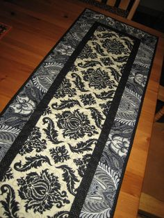 Table Runner Modern Black and White Paisley by TahoeQuilts on Etsy, $44.00