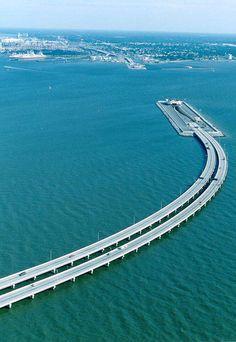 The Oresund Bridge that connects Denmark to Sweden.  Part of it is underwater!!