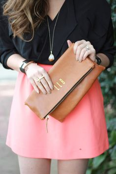 #SummerStyle // Monogram fold over clutch Personalized fold over by MimicDesign, $85.00