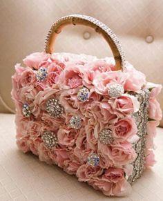 handbag, pink roses, weddings, clutch, parisian style, flowers, designer cakes, flower girls, purses