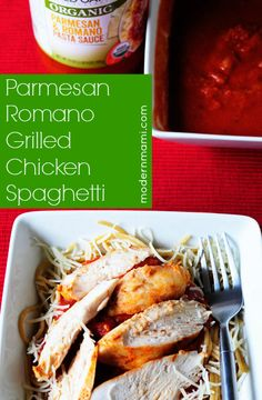 Parmesan Romano Grilled Chicken Spaghetti Recipe for your George Foreman Grill - Modern Mami