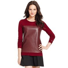 Leather Panel Sweater   Tommy Hilfiger USA