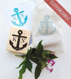anchor wedding invitations, monogram, personalized wedding stamp