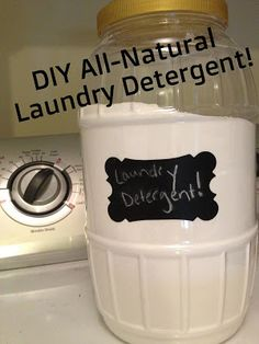 DIY All Natural Laundry Detergent 1/2 Box of Washing Soda, 1/2 Box of Borax; 1 bar of Soap  (I used Dr. Bronners Lavender!); 1 cup Oxi-Clean FREE; 2 cups Baking Soda; A container of some sort; Grate the soap,  then put in a blender/food processor till it looks more like a powder; Mix all the ingredients together & you're finished