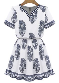 Charming Short Sleeve Print Mini Dress