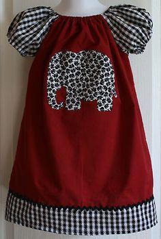 Girls Peasant Dress Size 3  Alabama Crimson/Houndstooth Elephant Applique
