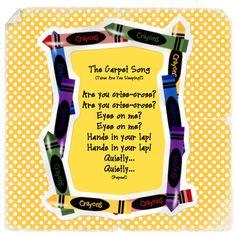 Carpet song to reinforce quiet listening classroom, carpet song, idea, grade, carpets, educ, circl time, criss cross applesauce song, kid