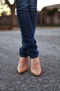 Jeans & nude heels.