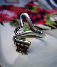 Steampunk Key Heart Ring by ParadiseFindings ($25)