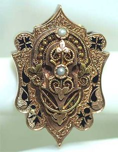 Victorian-era slide for a large chain, black enamel, 14K gold, 2 seed pearls.