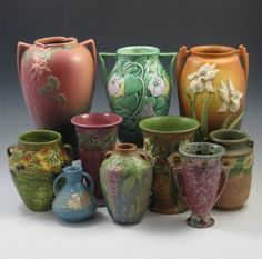 A collection of Roseville Pottery.