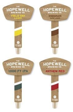 The Hopewell Brewing Co. taphandles, designed by Official Mfg. Co.
