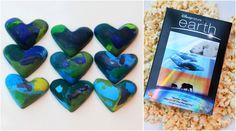melted blue and green crayons into earth-colored-heart shapes