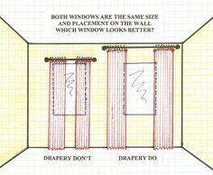 This is a great picture that illustrates how the placement of a wider curtain rod at the top of the wall makes a drastic difference in the look of a window. It seems more spacious and brings in a greater amount of light!