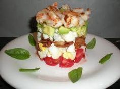 stacked shrimp cobb salad with lemon vinegarette