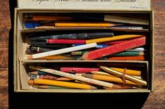 Cigar Box of old pencils. Remember this from childhood.. via nevver& magnificent ruin