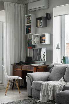 small apartments, interior design, living rooms, office nook, apartment design, office area, bachelor pads, home offices, workspac
