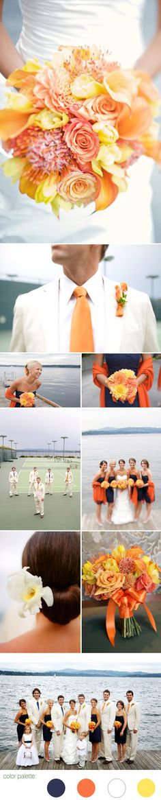 Summer outdoor wedding with modern preppy wedding fashion, navy blue, orange, yellow and white color palette, images by One Thousand Words Photography color palettes, orang, color schemes, color combos, wedding colors, fall weddings, the navy, flower, outdoor weddings