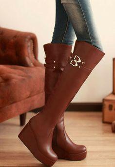 Fashion  Brown Upper PU Man-made Short Plush Rubber   Heel