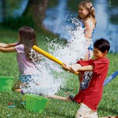 AWESOME summer game for kids: wiffle ball...with water balloons!