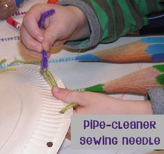 Make your own sewing needle for toddlers to use with threading and beginning sewing