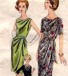 Vintage 1960s Vogue Cocktail Draped Party Dress Sewing Pattern Vogue 5434 #60s #retro #vintage