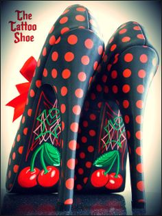 shoes, fashion, polka dots, red, tattoos, pies, heels, cherries, cherri pie