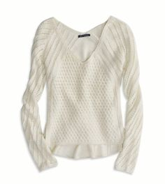 American Eagle V-Neck Sweater in White.