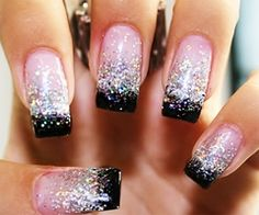 Glitter and black french mani