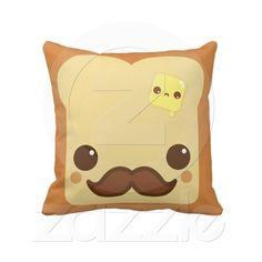 . product, kawaii, heart, mustach, butter, toast, pillows