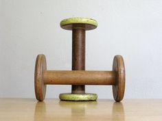 Pair of Vintage Industrial Textile Spools by circlethesquare, $20.00