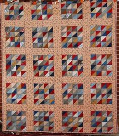 "DAZZLING Vintage ""Triangle Tiles"" Hand Stitched Antique Quilt c. 1930 ~COLORFUL!"