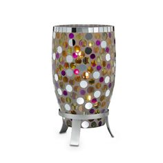 """MIRANOVA™ HURRICANE Item #:  P90792 Hand-crafted mosaic glass dot tiles cast a gorgeous glow when lit with a pillar, Escential jar, GloLite jar, large tealight or tealight tree, sold separately. Presented on a stylish metal base. 12½""""h, 6½""""dia.  Regular Priced: $85.00 each  SALE! $35.00 each"""