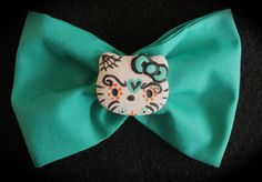 Turquoise Hello Kitty Sugar Skull Bow www.jaebellaboutique.etsy.com