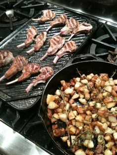 Grilled Lamb Chops & Skillet Yukon Gold Potatoes with Fresh Herbs #SundaySupper @CristinaCooks.   Lodge Cast Iron Skillets never let you down with recipes like this! Yum's Up!
