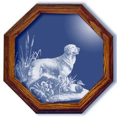 Golden Retriever and Decoys Dog Art Small Octagon Mirror