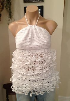 Hand crocheted white halter top with ruffled front