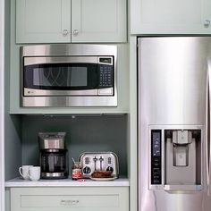 Built in microwave. Coffee maker and toaster nook. Great idea.