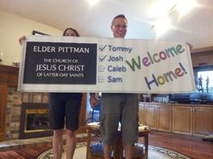 A vinyl missionary banner to celebrate Josh's return from Guatemala.